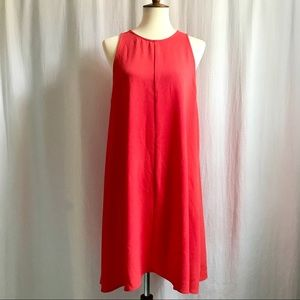 CHARLES HENRY Coral Crepe Trapeze Sleeveless Dress